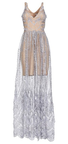 DRESS THE POPULATION chelsea lace a-line gown - A delicately sheer lace overlay topped with luxuriant...