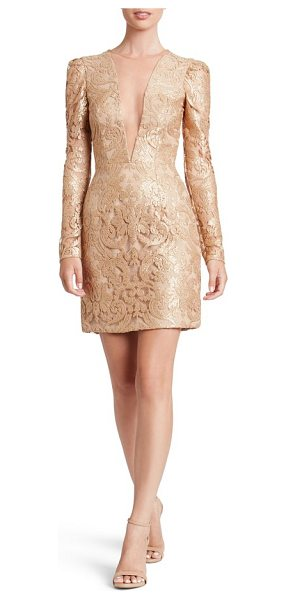 Dress the Population claudia plunging illusion sequin lace minidress in gold/ nude - Glimmering sequins illuminate the curve-hugging design...