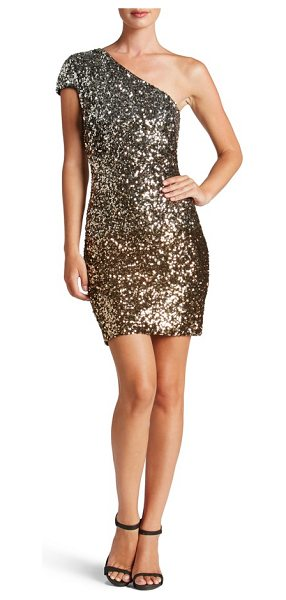 Dress the Population debbie ombre sequin one-shoulder dress in silver/ gold