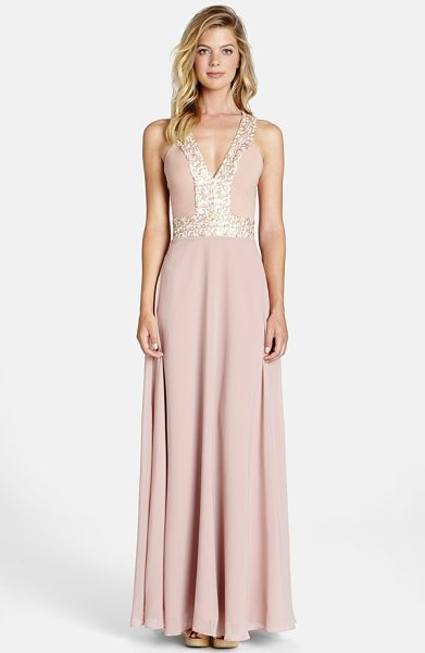 Dress the Population delani crepe gown in rose pink/ opal - Twinkling sequins frame the decolletage, flattering the...