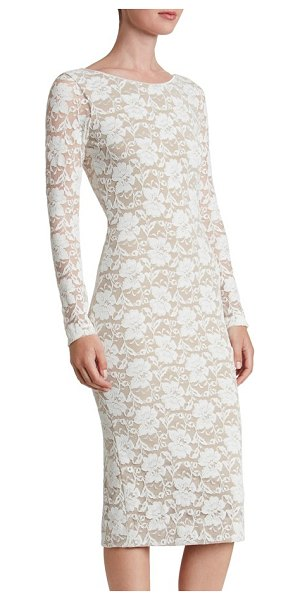 Dress the Population emery lace body-con midi dress in ivory/ nude - Lavish floral lace hugs and highlights feminine curves...