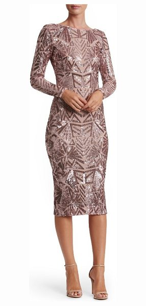 Dress the Population emery midi dress in mauve/ nude - Densely sewn sequins paint mesmerizing Art Deco-inspired...