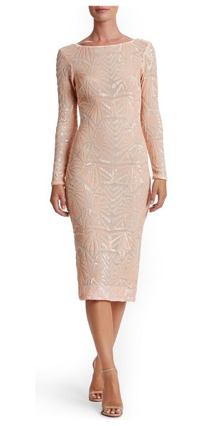 Dress the Population emery midi dress in peach/ nude - Densely sewn sequins paint mesmerizing Art Deco-inspired...