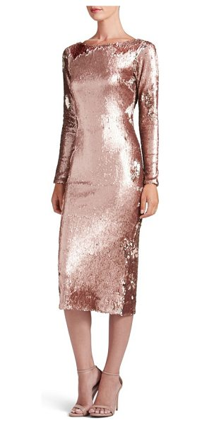 Dress the Population emery scoop back reversible sequin body-con dress in rose gold/ nude - No matter which way the sequins lie, the effect is...