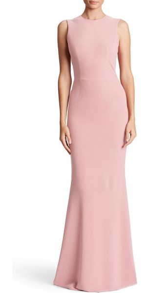 Dress the Population eve crepe mermaid gown in blush - A structured bodice makes a sophisticated start on a...