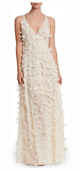 Dress the Population fleur floral applique gown in cream - An intensely romantic and delicate dress features...