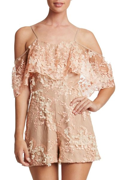 Dress the Population francesca romper in peach/ nude - Float into the party in this floral-appliqued romper...