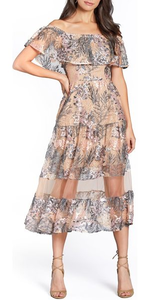 Dress the Population gabriella off the shoulder dress in pink blossom - Beautiful floral embroidery shimmers on a whimsical...
