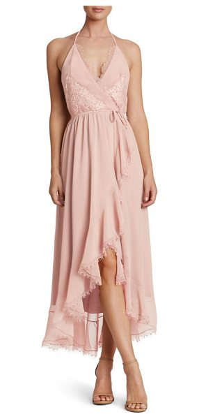 Dress the Population gia backless chiffon wrap dress in rose petal - A flowy midi dress that's tied at the waist to sculpt an...