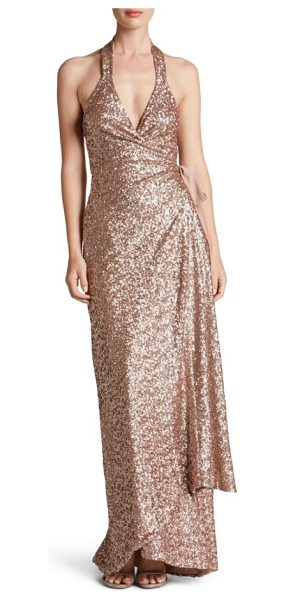 Dress the Population giselle sequin wrap gown in rose gold - Shimmering sequins glisten over every curve flaunted by...