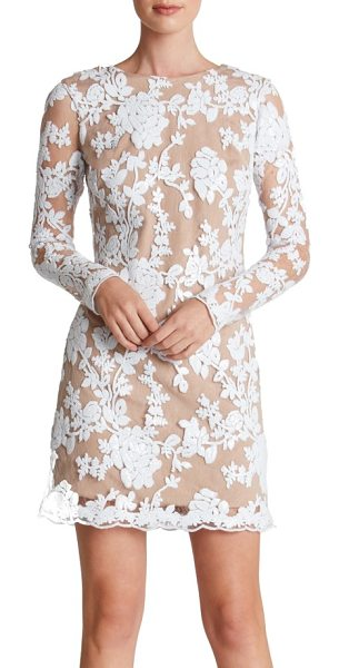 Dress the Population grace a-line dress in white/ nude - Glittering sequins bloom across a romantic lace cocktail...