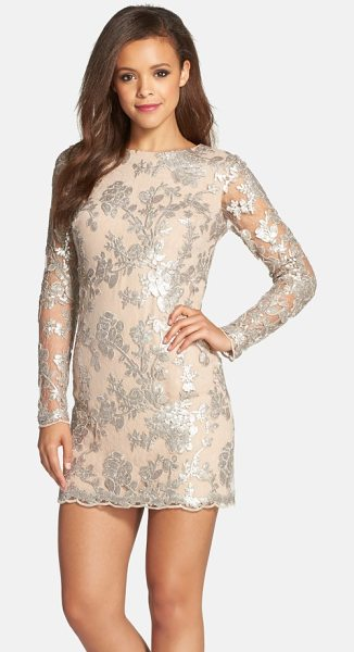 Dress the Population grace a-line dress in silver/ nude - Glittering sequins bloom across a romantic lace cocktail...
