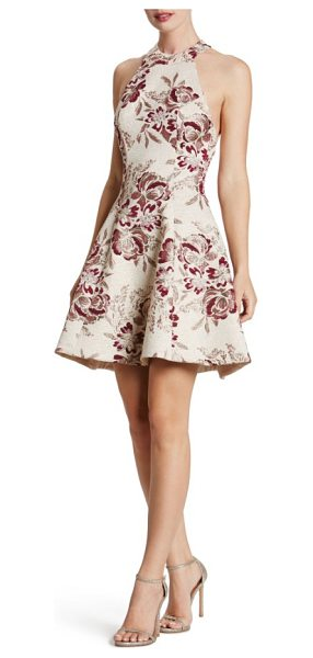 Dress the Population hannah fit & flare dress in blush/ wine/ gold - Floral brocade glistens with flattering texture around...