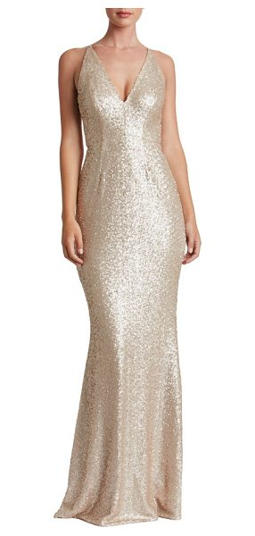 Dress the Population harper mermaid gown in pale blush - Satin-finish sequins glisten over every curve flaunted...