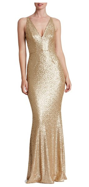 Dress the Population harper mermaid gown in brushed gold - Satin-finish sequins glisten over every curve flaunted...