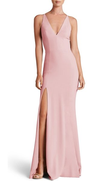 Dress the Population iris slit crepe gown in blush - Create a bit of drama on the dance floor as you twist...