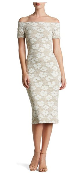 Dress the Population jemma midi dress in ivory/ gold/ nude - The texture and romance of lace flatters this...