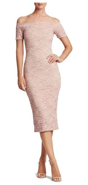 Dress the Population jemma midi dress in pink/ nude - The texture and romance of lace flatters this...