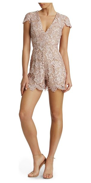 Dress the Population juliette plunge romper in rose/ nude - Flowery, textural lace softens the smart romper...