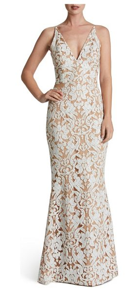 Dress the Population karen mermaid gown in white/ nude - Equal parts sultry and romantic, this figure-flaunting...