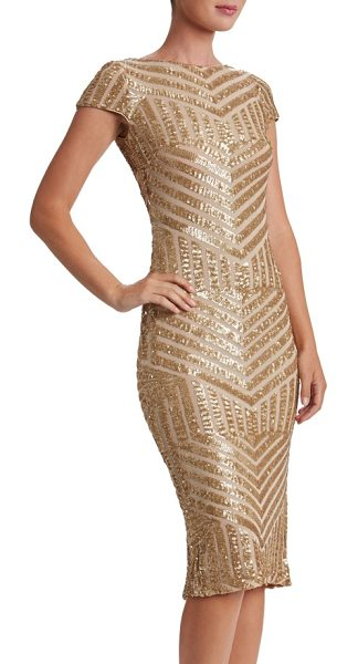 Dress the Population katerina body-con dress in brushed gold/ nude - Densely sewn sequins paint mesmerizing Art Deco-inspired...