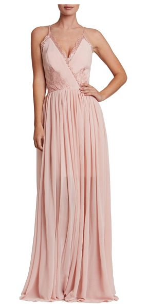 Dress the Population chloe lace & chiffon gown in rose petal - Get romantic in a floaty faux-wrap gown constructed with...