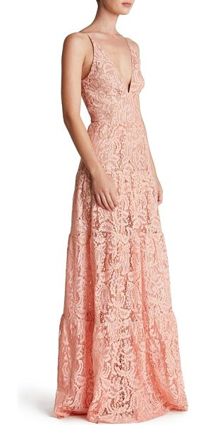 Dress the Population melina lace fit & flare maxi dress in rose petal - Colorful lace traced in gold enchants and delights a...