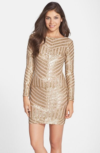 Dress the Population lola sequin body-con dress in brushed gold