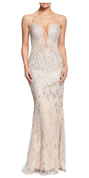 Dress the Population mara art deco sequin trumpet gown in pink - A plunging neckline draws the spotlight toward this...