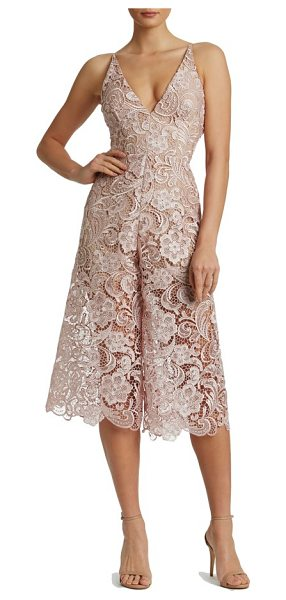 Dress the Population marion lace romper in rose/ nude - Alluring details, including a plunging neckline and...