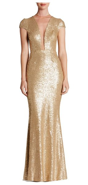 Dress the Population michelle sequin gown in brushed gold - Dazzle through the evening in this slinky sequin gown...