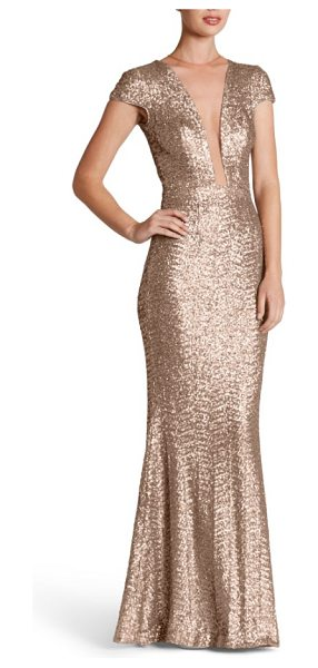 Dress the Population michelle sequin gown in rose gold - Dazzle through the evening in this slinky sequin gown...