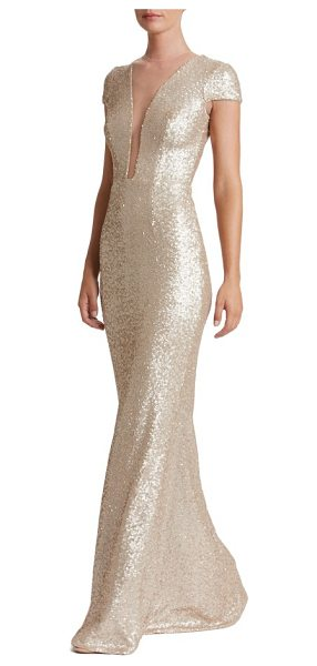 Dress the Population michelle sequin gown in pale blush - Dazzle through the evening in this slinky sequin gown...