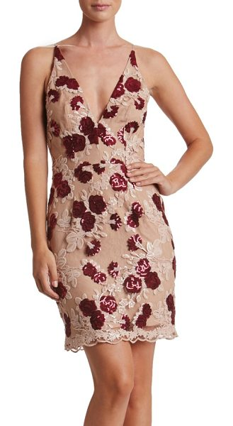 DRESS THE POPULATION natalie sequin minidress - Sequin roses glisten atop the delicate lace of this...