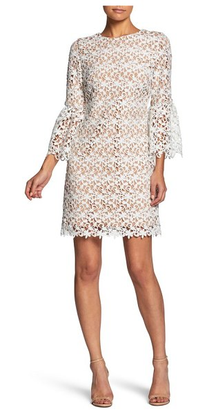 Dress the Population crochet shift dress in off white/ nude - Lush fronds fan out over a sleek shift adorned with...