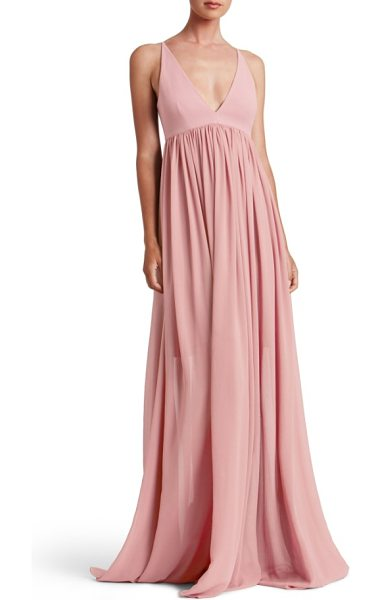 Dress the Population phoebe chiffon gown in blush - Take on wedding photos, ceremony and reception in...