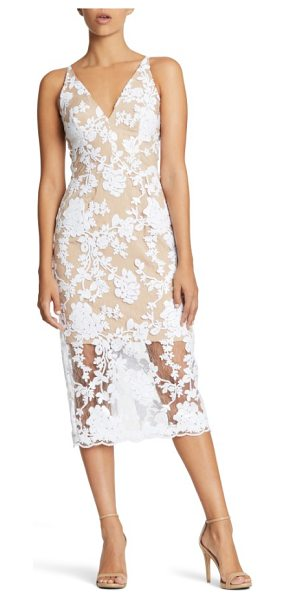 Dress the Population rebecca floral lace midi dress in white/ nude - Twinkling sequins blossom over a gauzy lace evening...