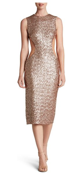 Dress the Population ryan side cutout sequin midi dress in rose gold - Daring cutouts veiled with illusion carve a shapely...