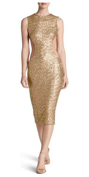 Dress the Population ryan side cutout sequin midi dress in brushed gold - Daring cutouts veiled with illusion carve a shapely...