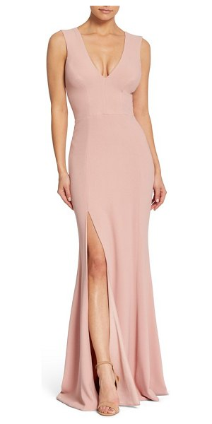 Dress the Population sandra plunge crepe trumpet gown in blush - Show a little leg (in the most elegant way) in this...