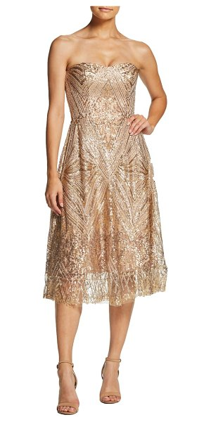Dress the Population sarah sequin strapless fit & flare dress in metallic (nordstrom exclusive)