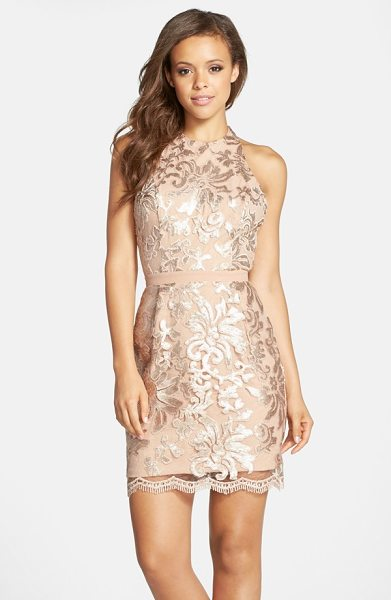 Dress the Population scarlett sequin chiffon halter dress in blush - Shimmering sequins create a gorgeous floral design on...