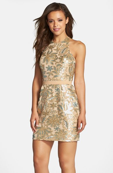 Dress the Population scarlett sequin chiffon halter dress in nude - Shimmering sequins create a gorgeous floral design on...