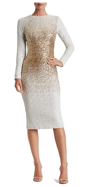 DRESS THE POPULATION brooke sequin midi dress - Snow-white sequins diffused with metallic shine create...