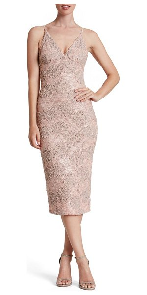 Dress the Population sequin textured lace midi dress in rose petal - Soft, highly textured applique over matching sequined...