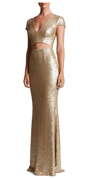 Dress the Population cara sequin two-piece gown in brushed gold - A dense covering of satin-finish sequins flaunts and...