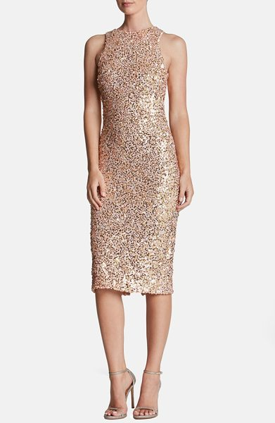 Dress the Population shawn sequin midi dress in pink/ gold - Tonal sequins mottle this sultry longline dress that...