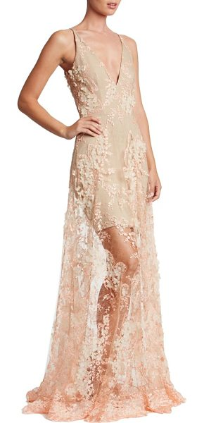 Dress the Population sidney lace gown in peach/ nude - Intensely romantic and dramatic in luscious floral lace...