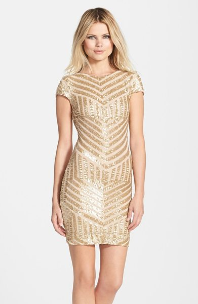 Dress the Population tabitha sequin minidress in brushed gold - An Art Deco tone smartens the glittering, party-perfect...