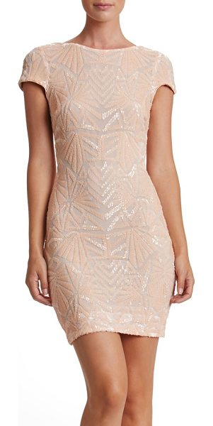 Dress the Population tabitha sequin mesh minidress in peach/ nude - An Art Deco tone enriches the glittering, party-perfect...